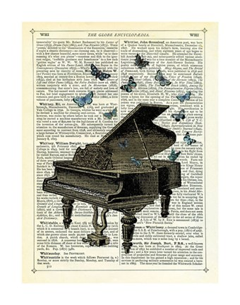 Framed Piano & Butterflies Print