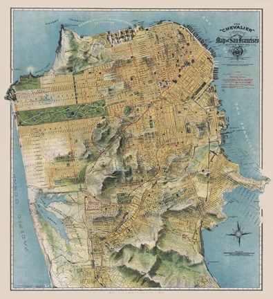 graphic about Printable Map of San Francisco called August Chevalier Map of San Francisco, California, 1912
