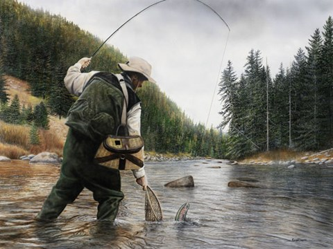 Framed Fishing the Gallatin Print