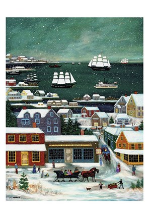 Framed Winter in Nantucket Harbor Print