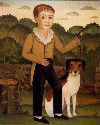 Framed Boy with Dog Print