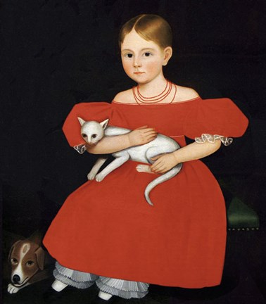 Framed Girl in Red Dress with Cat and Dog, 1830-1835 Print