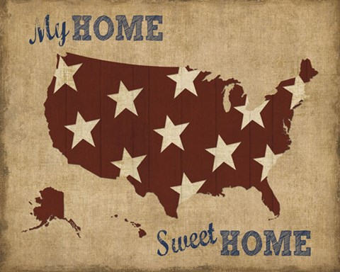 My Home Sweet Home Usa Map Fine Art Print By Sparx Studio