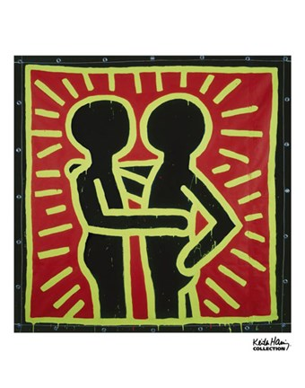 Framed Untitled, 1982 (couple in black, red, and green) Print