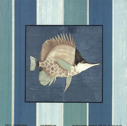 Framed Fish on Stripes II Print