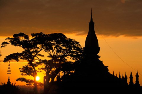 Framed Asia, Laos, Vientiane That Luang Temple, sunrise Print