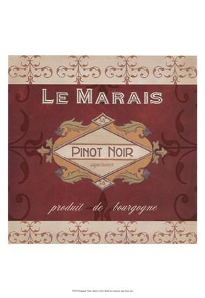 Burgundy Wine Labels I Fine Art Print by June Erica Vess at