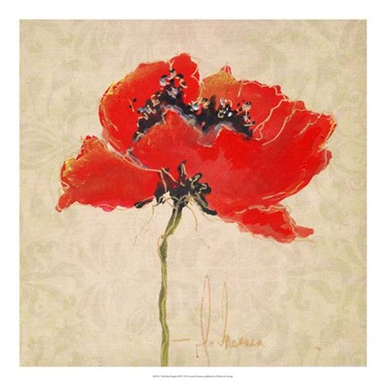 Framed Vivid Red Poppies III Print