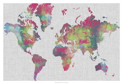 Framed Impasto Map of the World Print