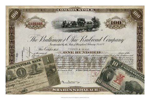 Framed Antique Stock Certificate III Print