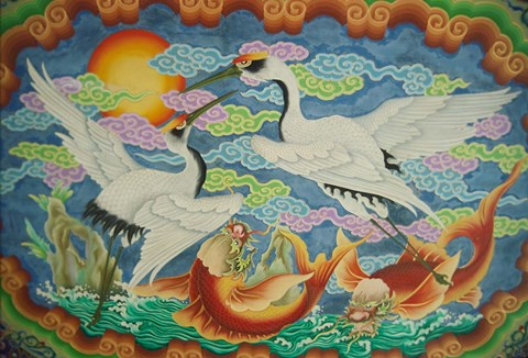 Framed Taiwan, Peimen, Nankunshen Temple, Ceiling mural of cranes and catfish Print