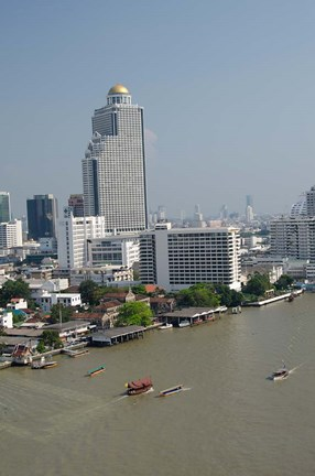 Framed Downtown Bangkok skyline view with Chao Phraya river, Thailand Print