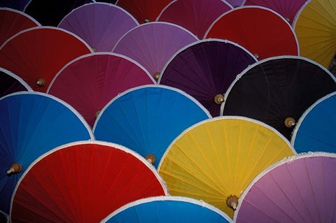 Framed Colorful Umbrellas at Umbrella Factory, Chiang Mai, Thailand Print