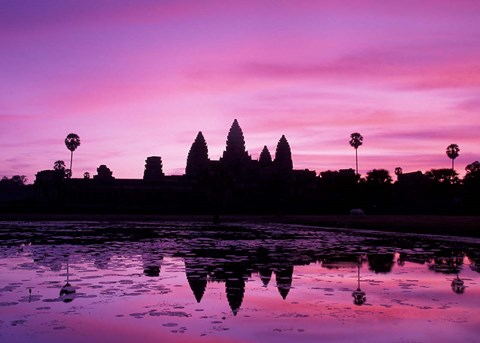 Framed View of Temple at Dawn, Angkor Wat, Siem Reap, Cambodia Print