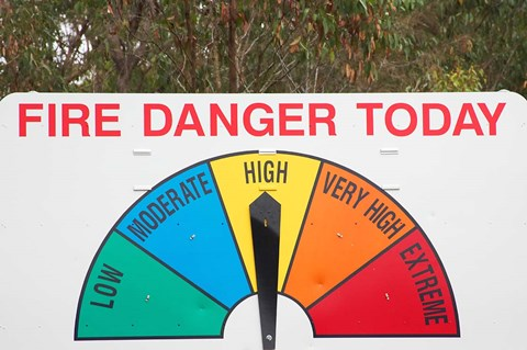 Framed Fire Danger Warning Sign, Queensland, Australia Print