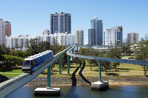 Framed Monorail by Jupiter's Casino, Broadbeach, Gold Coast, Queensland, Australia Print