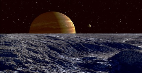 Framed Gas Giant Jupiter Seen Above the Surface of Jupiter's Moon Europa Print