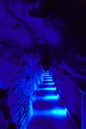 Framed Blue Lights, Ruakuri Caves, North Island, New Zealand Print