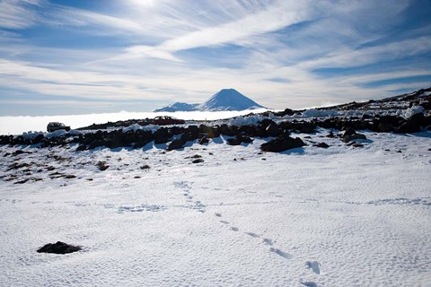 Framed Footsteps in Snow and Mt Ngauruhoe, Tongariro National Park, North Island, New Zealand Print