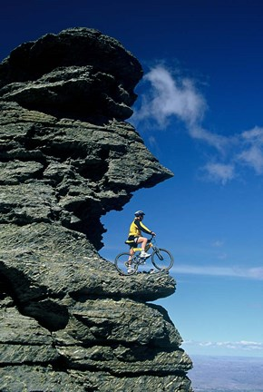 Framed Mountain Biker and Rock Tor, Dunstan Mountains, Central Otago Print