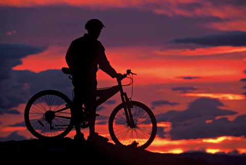 Framed Mountain Biker and Sunset, Dunstan Mountains, Central Otago Print
