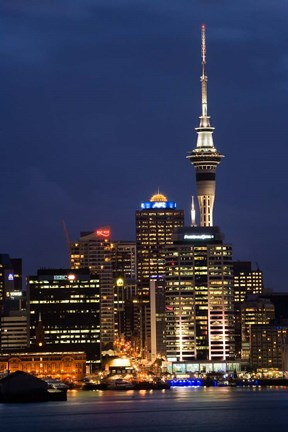 Framed City skyline at night, Auckland CBD, North Island, New Zealand Print