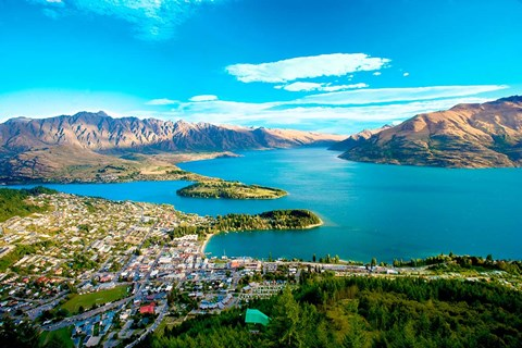 Framed View Towards Queenstown, South Island, New Zealand Print