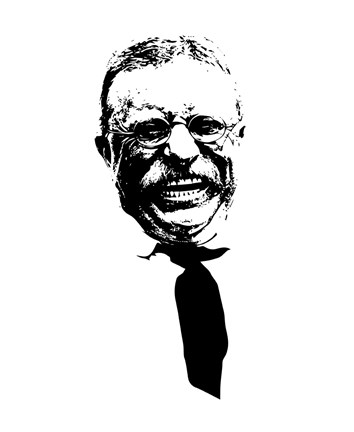 Framed Vector Portrait of Theodore Roosevelt smiling Print
