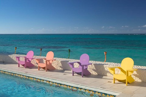 Framed Colorful Pool Chairs at Compass Point Resort, Gambier, Bahamas, Caribbean Print