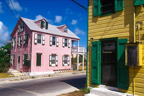 Framed Colorful Loyalist Home, Governor's Harbour, Eleuthera Island, Bahamas Print