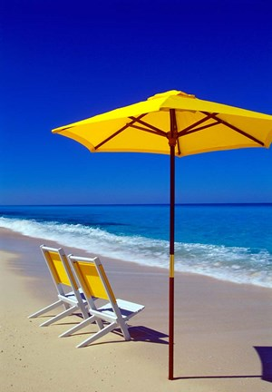 Framed Yellow Chairs and Umbrella on Pristine Beach, Caribbean Print