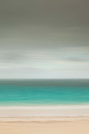 Framed Bahamas, Eleuthera, Pink Sand Beach on a cloudy day Print