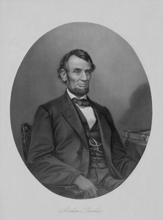 Framed President Abraham Lincoln Sitting in a Chair Print