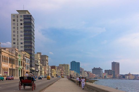 Framed Malecon street along the waterfront, Havana, UNESCO World Heritage site, Cuba Print