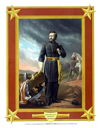 Framed General Ulysses S Grant with Cannon (color) Print