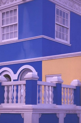 Framed Blue Building and Detail, Willemstad, Curacao, Caribbean Print