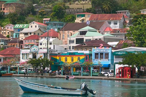Framed Shops, Restaurants and Wharf Road, The Carenage, Grenada, Caribbean Print