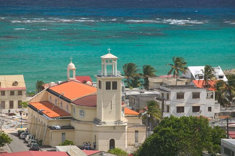 Framed Town View and Church on Marie-Galante Island, Guadaloupe, Caribbean Print
