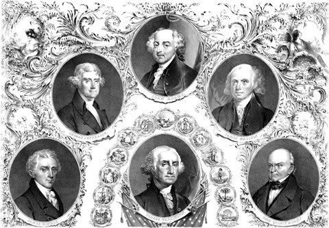 Framed First Six Presidents of The United States Print