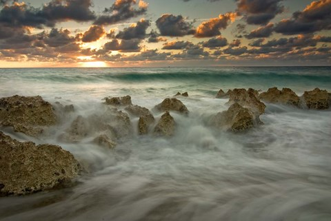 Framed Cayman Islands, Waves near George Town, sunset, beach Print