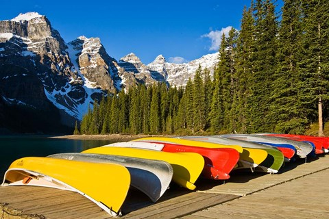 Framed Moraine Lake and rental canoes stacked, Banff National Park, Alberta, Canada Print
