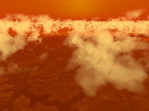 Framed Artist's concept of Methane Clouds over Titan's South Pole Print