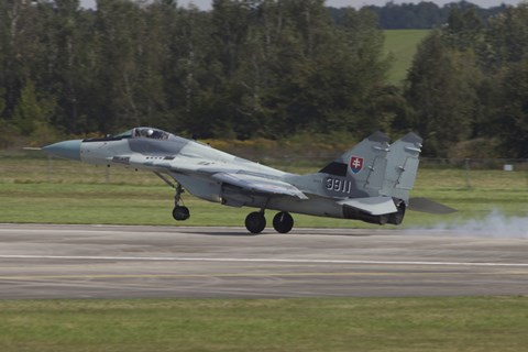 Framed Slovak Air Force MiG-29AS Fulcrum Landing on the Runway Print