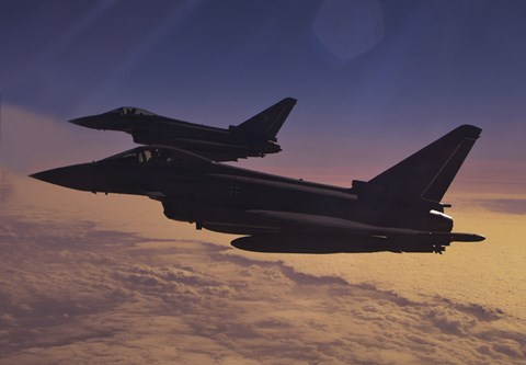 Framed Two German Air Force Eurofighter Typhoon's at Sunset Print
