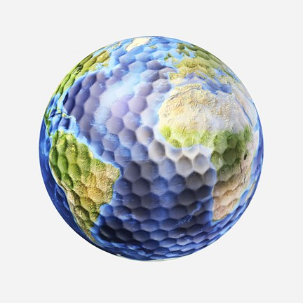 Framed 3D rendering of a planet Earth Golf Ball, White Background Print