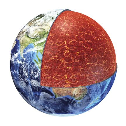 Framed Cross Section of Planet Earth Showing the Upper Mantle Print