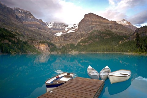 Framed British Columbia, Yoho NP, Boats on Lake Ohara Print