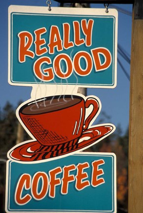 Framed Coffee Sign on Vancouver Island, British Columbia, Canada Print