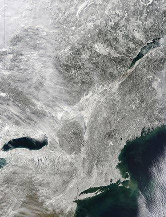 Framed Satellite View of a Large Nor'easter Snow Storm over United States Print