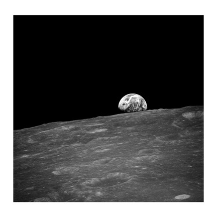 Framed first photograph taken by humans of Earthrise during Apollo 8. Print